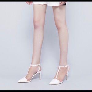 Zara T Strap Pointed Toe Heels Sz 39
